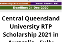 Photo of Central Queensland University RTP Scholarship 2021 in Australia – Fully Funded