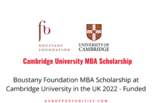 Photo of Boustany Foundation MBA Scholarship at Cambridge University in the UK 2022 – Funded