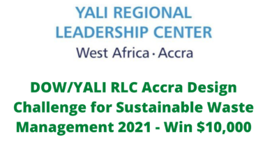 Photo of DOW/YALI RLC Accra Design Challenge for Sustainable Waste Management 2021 – Win $10,000