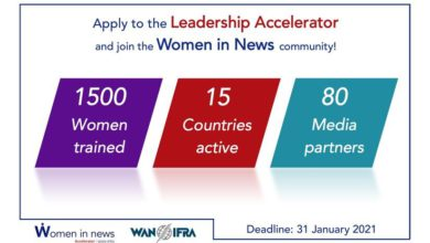 Photo of WIN Africa Accelerator for Women Journalists from sub-Saharan Africa 2021
