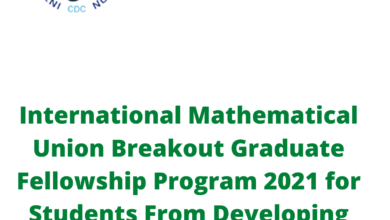 Photo of International Mathematical Union Breakout Graduate Fellowship Program 2021 for Students From Developing Countries – Fully Funded