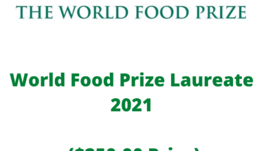 Photo of World Food Prize Laureate 2021 ($250,00 Prize)